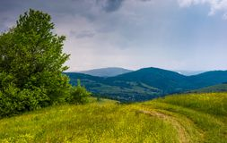 Dirt road through the field in mountains. On overcast day. beautiful summer scenery in stormy weather Royalty Free Stock Photography