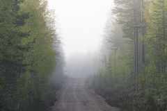 Dirt road in fog Stock Photos
