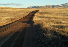 Dirt road through grassy plains Stock Photo