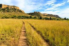 Dirt road in a green grassland valley with rock formations in th Stock Images