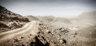 Dirt road in Hajar mountains stock photos