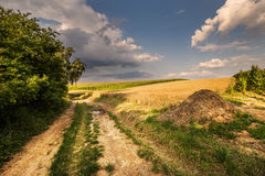 Dirt road and haystack Royalty Free Stock Photos