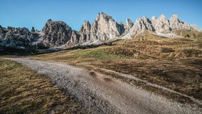 Dirt Road and Hiking Trail Track in Dolomite Italy royalty free stock photography