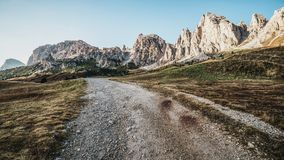 Dirt Road and Hiking Trail Track in Dolomite Italy stock photography