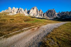 Dirt Road and Hiking Trail Track in Dolomite Italy stock images