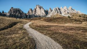 Dirt Road and Hiking Trail Track in Dolomite Italy stock photos