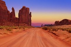 Dirt road at The Hub in Monument Valley Tribal Park, Arizona, USA royalty free stock images