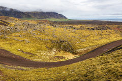 Dirt road in Icelandic landscape. Royalty Free Stock Photography