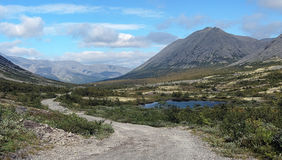 Dirt road in Khibiny Mountains, Kola Peninsula Stock Image