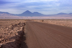 A dirt road leads to the Volcano Licancabur in San Pedro de Atacama.  Stock Photo