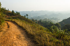 Dirt road. This line dirt roads is used  zoning, Thailand - Burma's at Wiang Haeng,Chiang Mai,Thailand Stock Photos
