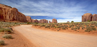 Dirt road in the monument valley Royalty Free Stock Photos