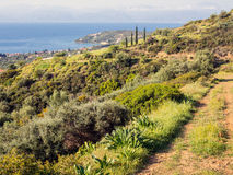 Dirt Road on Mountain. Disused dirt road on Greek mountain,  green, yellow and brown vegetation, view to sea Royalty Free Stock Photos