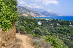 Dirt road in the mountains, Crete, Greece Royalty Free Stock Photos