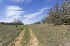 A dirt road in the mountains. Crimea. Royalty Free Stock Photos