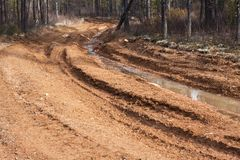 Dirt road with mud Royalty Free Stock Photos