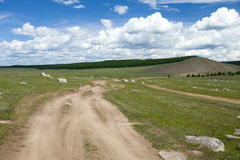 Dirt Road through Natural Rock Garden. A dirt road along the east side of Khovsgol Lake in northern Mongolia passes through a natural rock garden Royalty Free Stock Photo