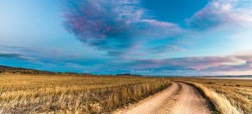 Dirt road near Gallocanta Lagoon in, Spain. Dirt road near Gallocanta Lagoon in Zaragoza, Spain Royalty Free Stock Photo