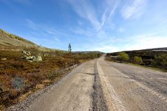 Dirt road in Sweden. A dirt road in the nipfjället nature reservat in sweden Royalty Free Stock Photography