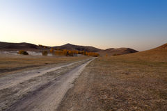 Dirt road in the prairie Royalty Free Stock Photos