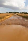 Dirt road puddles Rain stock photo