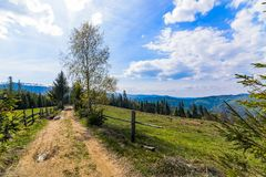 Dirt road in Silesian Beskid mountains Stock Photos