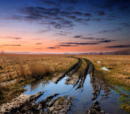 Dirt road in spring steppe after rain Royalty Free Stock Photography