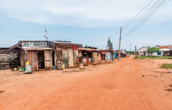 Dirt road with stores and houses in Bukoba, Tanzania Stock Image