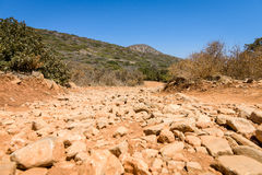 The dirt road strewn with large stones. Stock Photo