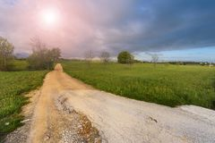 Dirt road at sunrise Royalty Free Stock Photography