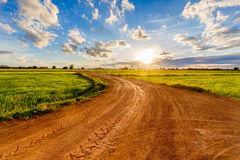 Dirt Road and Sunset Royalty Free Stock Photo