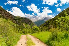 A dirt road in the Tien Shan mountains in the spring Royalty Free Stock Photography