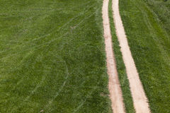 Dirt Road Tracks Field. Two sand tracks of a dirt road going through a green grass area royalty free stock images