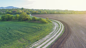 Dirt Road Between Two Farming Fields. Old Dirt Road Between Two Farming Fields In Sunny Day Stock Photography