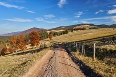 Road through forest in the fall. Dirt road through vibrant autumnal landscape Royalty Free Stock Photography