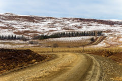 Dirt Road Winding Landscape Snow Stock Photos