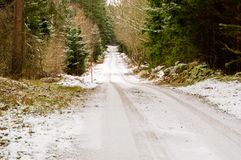 Dirt road in winter Stock Photo