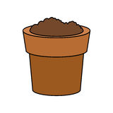Dirt or soil in pot icon image Stock Images