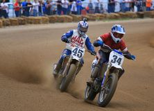 Dirt track motorcycle race Stock Images