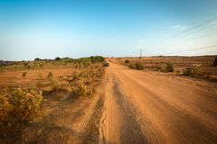 Dirt track in Mui Ne near White Sand Dunes, Vietnam Royalty Free Stock Photos