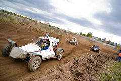 Dirt track racing. Sprint cars (buggy) in a dirt track Stock Image