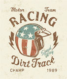 Dirt track racing. Vector artwork for sports wear, grunge effect in separate layer royalty free illustration