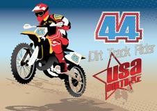 Dirt Track rider. Vector illustration of a motor bike rider in the desert Stock Photos