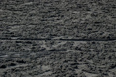 Dirt Track. Unraked dirt at a horse racing track Stock Photo