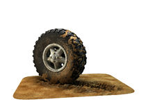 Dirt wheel on white Stock Images