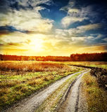 Dirt winding road in a field Stock Photography