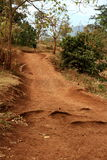 Dirth Path with African School Child. Looking up a dirt path with a small African school child in uniform at the top stock photography