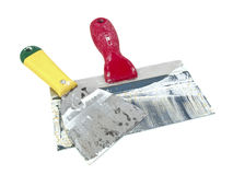 Dirthy plaster trowels Royalty Free Stock Image