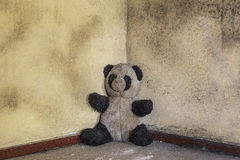 Dirty abandoned panda toy in the old military building Stock Photography