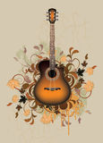 Dirty abstract with orange acoustic guitar Stock Images